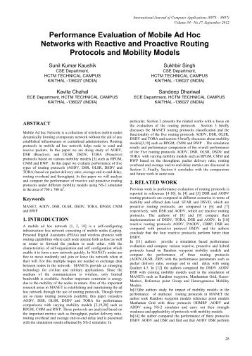 Performance Evaluation of Mobile Ad Hoc Networks with Reactive ...