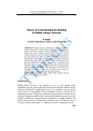 Theory of Centralization for Routing in Mobile Ad-hoc ... - Tibiscus