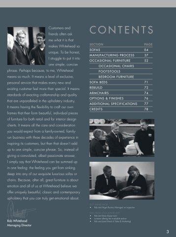 CONTENTS - Whitehead  Designs Ltd