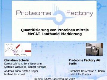 Quantifizierung von Proteinen mittels MeCAT-Lanthanid-Markierung