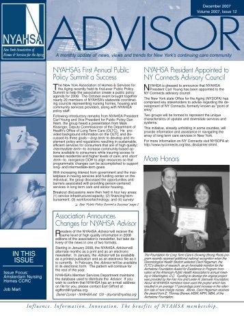 Association Announces Changes for NYAHSA Advisor NYAHSA's ...