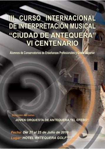"""iii curso internacional de interpretación musical """"ciudad de antequera"""""""