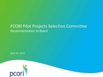 Presentation from PCORI Board Webinar & Teleconference (PDF)