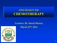 Principles of Chemotherapy - Experimental Oncology Graduate Study