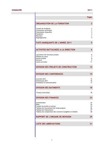 sommaire 2011 organisation de la fondation 2 faits ... - Fipoi
