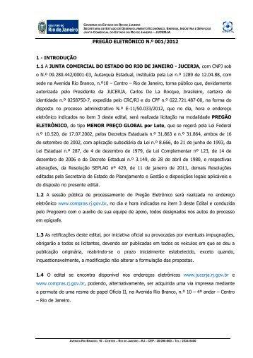 Pregão Eletrônico n.º 001/2012 - Jucerja