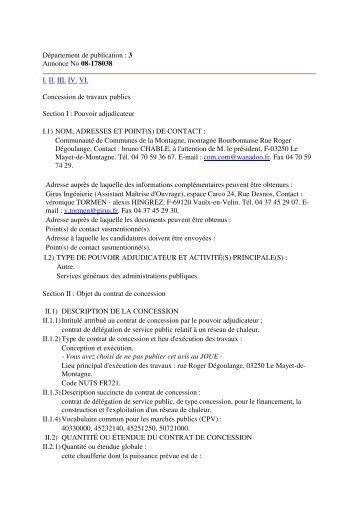 Département de publication : 3 Annonce No 08-178038 I. II. III. IV. VI ...