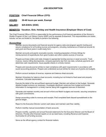 Job Description Chief Financial Officer Financial Controller   Ppl