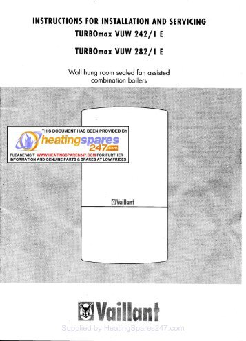 Vaillant turbomax vuw 242/1e 1998-2001 (08 connection parts.