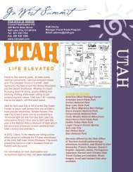 UTAH OFFICE OF TOURISM TOURISM ATTRACTIONS