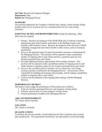 Job Title: Business Development Manager Department ...   Galorath