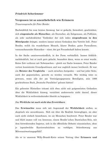 Trauerrede von Friedrich Schorlemmer - Willy-Brandt-Kreis