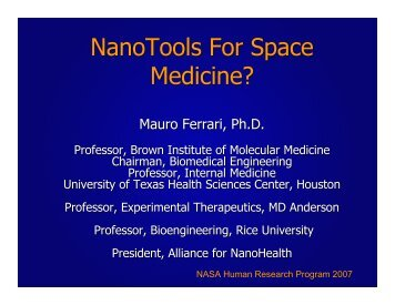 NanoTools For Space Medicine? - Division of Space Life Sciences