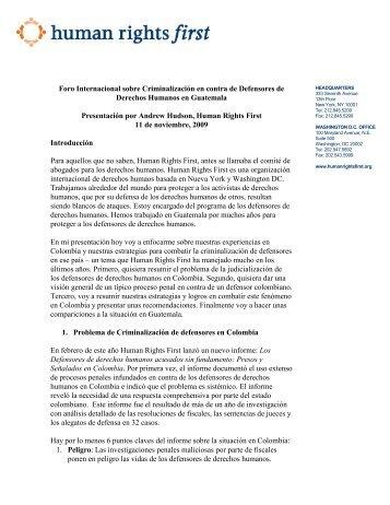 Foro Internacional sobre Criminalización en contra de Defensores ...