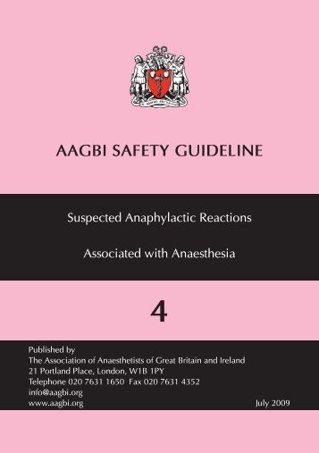 Suspected anaphylactic reactions associated with anaesthesia - aagbi