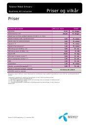 Priser og vilkår - Telenor