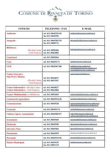 rubrica telefonica - fax - e-mail
