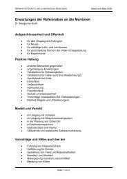 Erwartungen der Referendare an die Mentoren - Seminare BW
