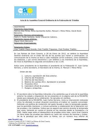 Acta de la Asamblea General Ordinaria 2011 - fecantri