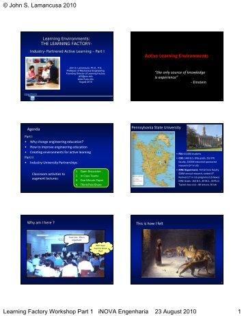 John S. Lamancusa 2010 Learning Factory Workshop Part 1 iNOVA ...