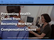FPSH Chapter 10 Preventing Health Claims from Becoming Workers