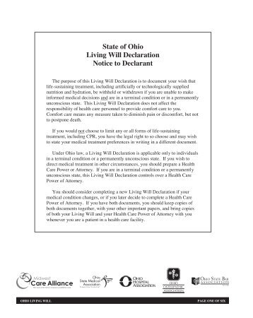 State of Ohio Living Will Declaration Notice to Declarant