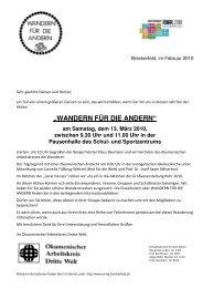 """""""WANDERN FÜR DIE ANDERN"""" am Samstag, dem 13. März 2010 ..."""