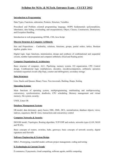 Syllabus for M Sc  & M Tech  Entrance Exam – CUCET 2012