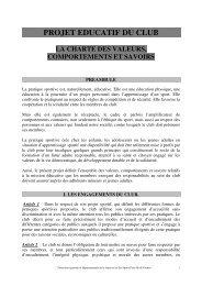 PROJET EDUCATIF DU CLUB - CDOS Seine et Marne