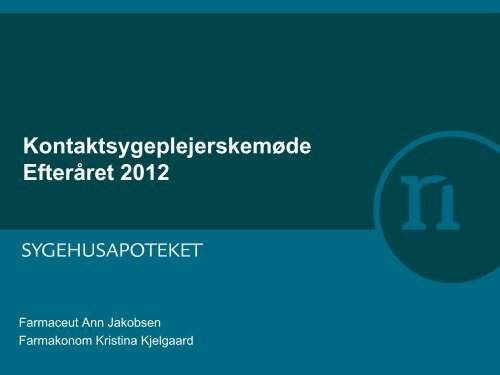 Dagsorden og program/referat for KoSyMø ... - Sygehusapoteket
