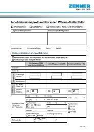 Inbetriebnahmeprotokoll für einen Wärme-/Kältezähler - Zenner