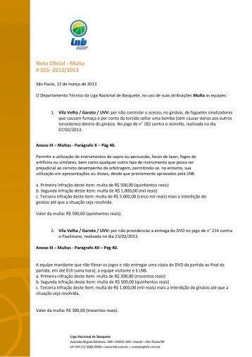 12/03/2013 Nota Oficial 025 Multa - NBB 5.pdf pdf