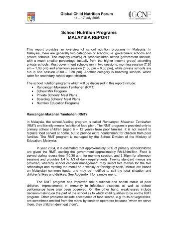 School Nutrition Programs MALAYSIA REPORT - Global Child ...