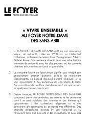 Texte du Vivre Ensemble - Foyer Notre-Dame des Sans-Abri