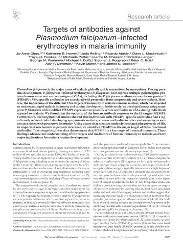 Targets of antibodies against Plasmodium ... - Burnet Institute