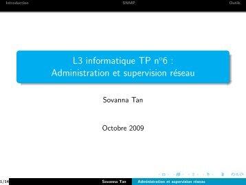 L3 informatique TP no6 : Administration et supervision réseau - Lacl