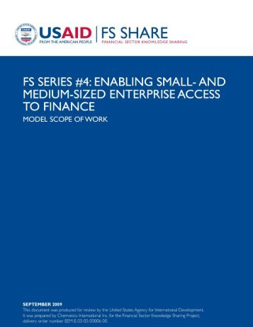 SME Finance - Model Scope of Work - Economic Growth - usaid