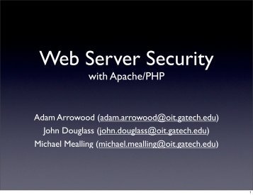 Web Server Security class notes - Adam Arrowood's Projects