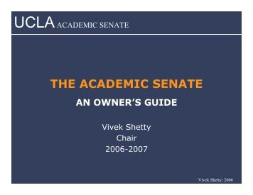 THE ACADEMIC SENATE - UCLA Academic Senate