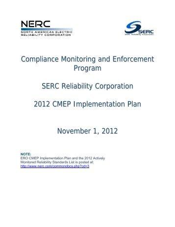 2012 SERC CMEP Implementation Plan - SERC Home Page