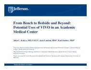 From Bench to Bedside and Beyond: Potential Uses of VIVO in an ...