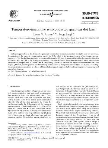 Temperature-insensitive semiconductor quantum ... - ResearchGate
