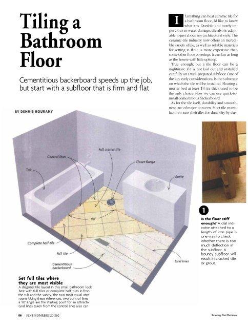 Tiling a Bathroom Floor - Fine Homebuilding