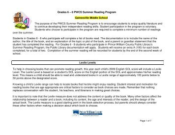 Grades 6 – 8 PWCS Summer Reading Program Gainesville Middle ...