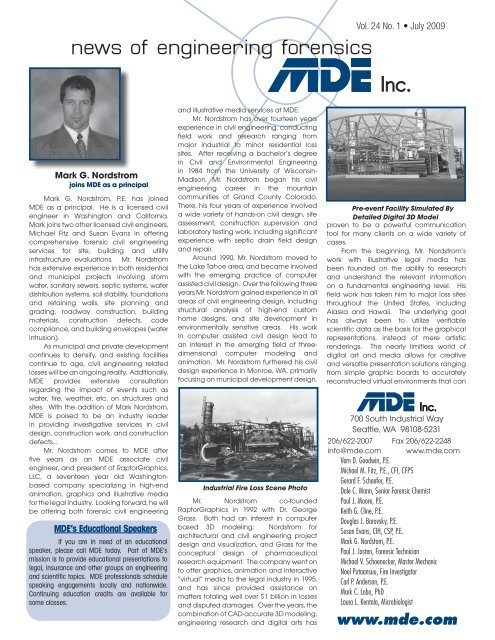 News Of Engineering Forensics Mde Engineers Inc