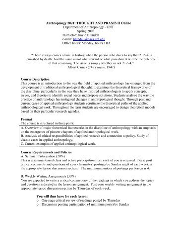 anth 5010.810 thought and praxis i - unt anthropology, Powerpoint templates