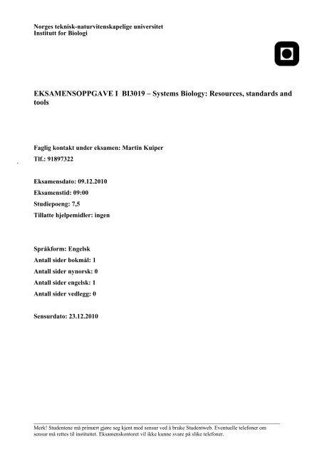 EKSAMENSOPPGAVE I BI3019 – Systems Biology - Institutt for biologi