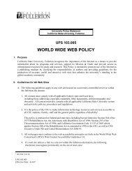 WORLD WIDE WEB POLICY - California State University, Fullerton