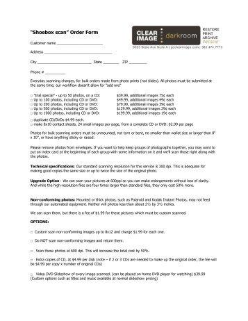 """""""Shoebox scan"""" Order Form"""