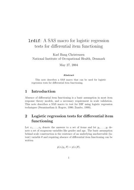 lrdif: A SAS macro for logistic regression tests for differential